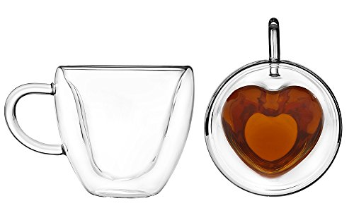 Artisan Roast Double Walled Heart Shaped Coffee Mug - Set of 2