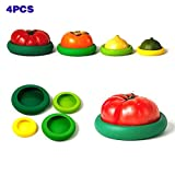 Maphissus Food Huggers Reusable Silicone Food Savers 4Pieces/ set Flexible Silicone Fruit Vegetable Greens