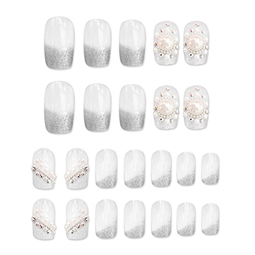 Amazon.com : 24pcs Silver False Nails Long Full Cover Nail Tips Nail Art Accessories : Beauty