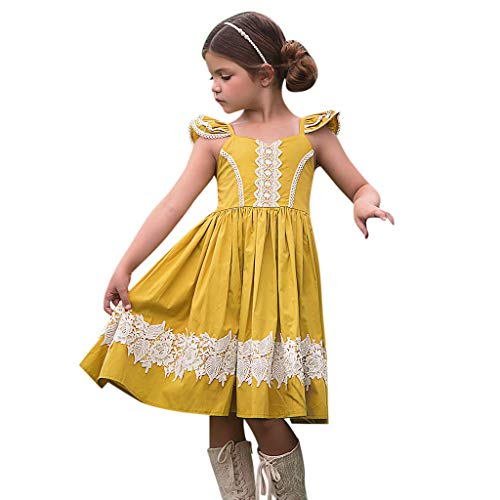 RIUDA Kids Big Girls Lace Flower High Low Chiffon Bridesmaid Dress Dance Party Wedding Princess Dresses Yellow Disney Couture Set Necklace