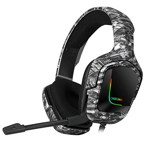 Onikuma K20 Camo Grey Gaming Headset with Surround Sound PS4 Headphones with Mic Works with Xbox One PC,RGB Lightweight Soft Earmuffs & Volume Control