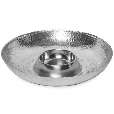 KINDWER Hammered Aluminum Chip and Dip Bowl, 16-Inch, Silver