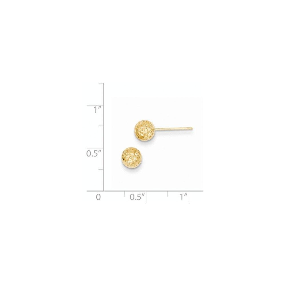 14K Gold Diamond Cut Ball Post Earrings 0.24 in x 0.24 in