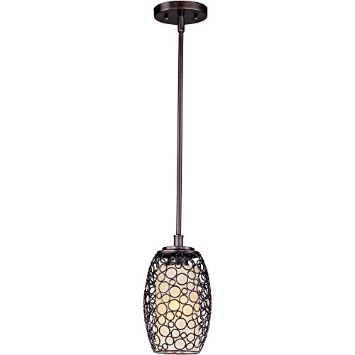- Maxim 91340DWUB Meridian 1-Light Mini Pendant, Umber Bronze Finish, Dusty White Glass, MB Incandescent Incandescent Bulb , 60W Max., Wet Safety Rating, Standard Dimmable, Glass Shade Material, Rated Lumens