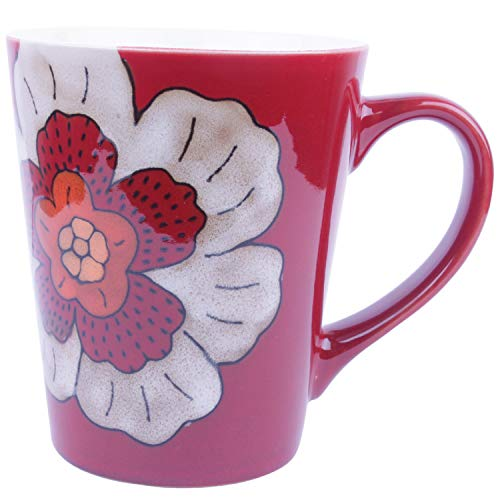 (Hand Painted Ceramic Coffee Mugs (Red Background+White Flower))