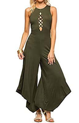 Hibluco Women's Sexy V-neck Lace Up Romper Sleeveless Wide Leg Jumpsuit