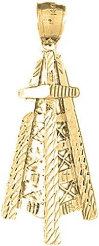 Jewels Obsession 14K Yellow Gold Oil Well 22 mm Oil Rig Pendant