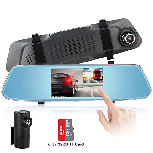 Mirror Dash Cam, 1080P HD 5 Inch Touch Screen Dash Camera Front and Rear Dashcam with G-Sensor, Night Vision, Reversing Camera, Parking Monitor [32G SD Card Include]