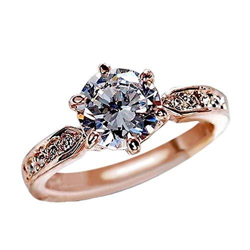 WoCoo Rose Gold Crystal Hexagram Exquisite Cutting Luxury Rings,Girls Favorite Series(Rose Gold,Size 9) (Pearl Design Cufflinks Circle)