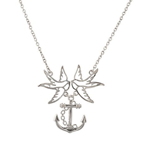 Lux Accessories Birds Of A Feather Flock Together Dove Love Anchor Pendant (Love Dove Necklace)