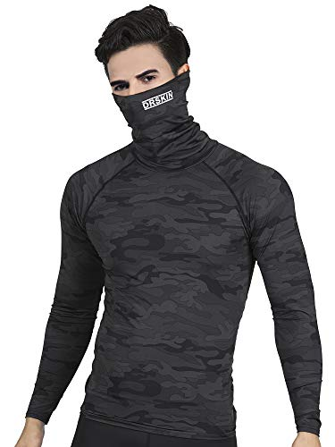 DRSKIN Turtleneck Compression Top Thermal Cool Dry Sports Shirt Baselayer Running Long Sleeve Men (Turtleneck SMBB07, S)