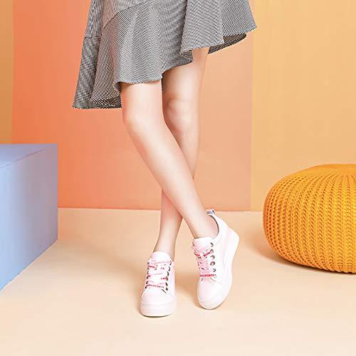 Carta Encaje Blancos Pequeños Alto Otoño Aumento Tacón Blanco De Mujer  Zapatos Dentro Cuero Casual q60P8 0c5b3add03d6
