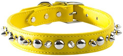 OmniPet Signature Leather Pet Collar with Spike and Stud Ornaments, Yellow, 3/4 by 16 by OmniPet (Signature Leather Spike)