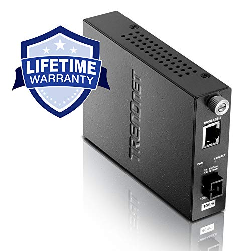TRENDnet Intelligent 1000Base-T to 1000Base-LX Dual Wavelength Single Mode SC Fiber Converter (10km/6.2miles), Lifetime Protection, TFC-1000S10D5 - Fibre Protection
