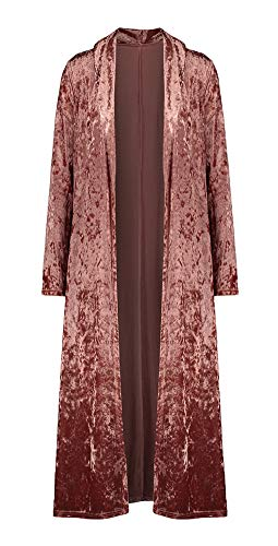 ezShe Women's Velvet Lapel Collar Open Front Long Cardigan Trench Coat Pink S
