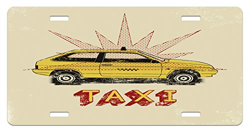 Retro License Plate by Ambesonne, Pop Art Style Old Fashioned Taxi Cab with Grunge Effects Vintage Car Graphic, High Gloss Aluminum Novelty Plate, 5.88 L X 11.88 W Inches, Beige - Style Taxi
