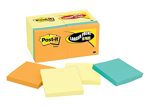 Post-it Notes Value Pack, 3 in x 3 in, Canary Yellow, 14 Pads with 4 Free Pads in Rio de Janeiro Collection (654-14-4B)