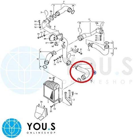 YOU.S Original 1J0145834K Ladeluftschlauch Innendurchmesser ca 49//53 mm