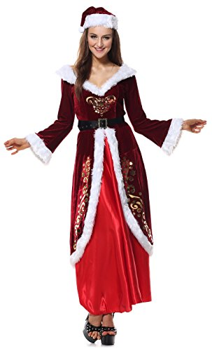 Cheap Mrs Claus Costumes (KILLREAL Women's Velvet Mrs Santa Claus Costume Mother Christmas Party Costume Dark-Red Large)