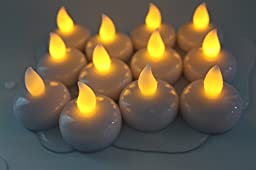 NOVEL HOME TECH Set of 12 Unscented Small Battery Operated waterproof Led Floating Flameless Candles for Centerpieces, Wedding and Party Decoration -(Amber Flickering Warm White)