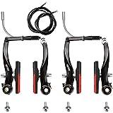 RUJOI Bike Brake Set,Mountain Bike V-Brake Type with Brake Knot for Mountain Bike, Road Bike Black (2 Pack)