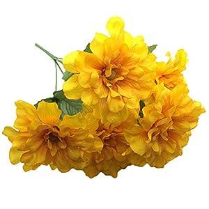 Lopkey Silk Artificial Bouquet Wedding Decoration Chrysanthemum Fake Flower Yellow,2Pcs 9