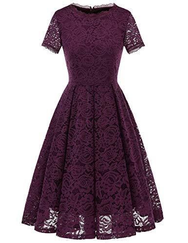 DRESSTELLS Women's Homecoming Vintage Tea Dress Floral Lace Cocktail Formal Swing Dress Grape L