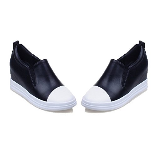 Odomolor Women's Solid PU Kitten-Heels Pull-On Closed-Toe Pumps-Shoes, Black, 40
