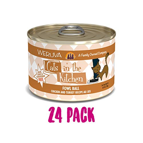 Ball Small Cats - Weruva Cats In The Kitchen, Fowl Ball With Chicken & Turkey Au Jus Cat Food, 6Oz Can (Pack Of 24)