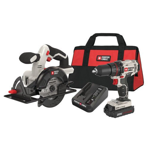 Porter-Cable PCCK612L2R 20V MAX Cordless Lithium-Ion 1/2 in. Drill & 5-1/2 in. Circular Saw Combo Kit (Certified Refurbished) by PORTER-CABLE