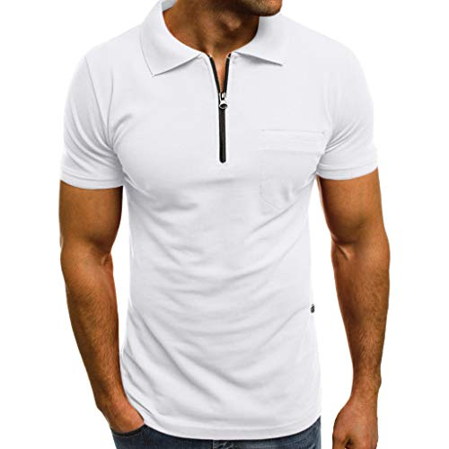 - Men's Shirts Short Sleeve Tech Performance Golf Dri-Fit Shirt Casual Slim Pockets T Shirt Top (M, White)
