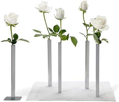 PELEG DESIGN Magnetic Flower Vase – Unique and Modern Set of 5 Silver Aluminum Vases for Home Garden Decor