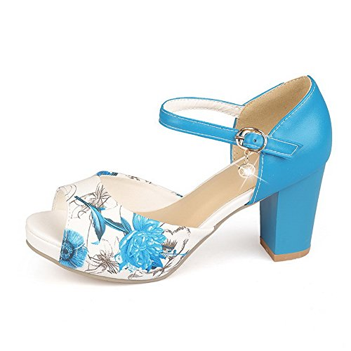 Soft Buckle High Heels Open Color Sandals Material Assorted AgooLar Blue Women's Toe qx6zUX0w