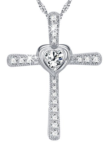 Heart God Cross Jewelry Birthday Gifts Anniversary Gift for Her for Women Sterling Silver April Birthstone Simulated Diamond Pendant (Stone Cross Simulated)