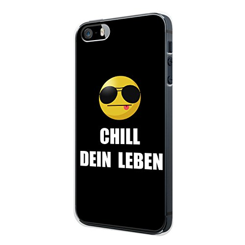 CHILL DEIN LEBEN. Emoji iPhone 5 / 5S Hülle Cover Case Schale Fun Funny Spruch Zitat Design Quote Emojis Smiley