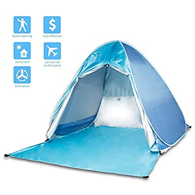 Beach Tent, Korotus Automatic Pop Up Sun Shelter, Light-weight Camping Sun Shade Canopy with UV Protection, Waterproof and Wind-resistant Features
