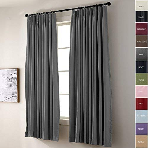 IYUEGO Pinch Pleat Solid Thermal Insulated 95% Blackout Patio Door Curtain Panel Drape for Traverse Rod and Track, Grey 52W x 63L Inch (Set of 1 Panel)