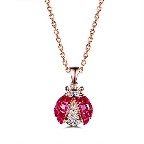 Beydodo 18K Gold Necklace for Women Real Gold Ladybug Pendant with Ruby Bridesmaid Necklace for Women