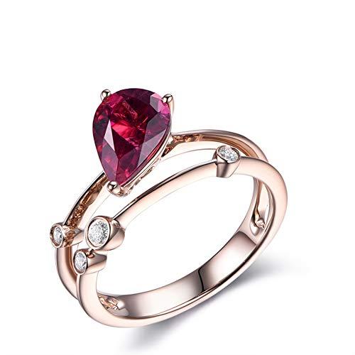 Gems.RDX Red Tourmaline Ring, 18ct Rose Gold 0.53ct Natural Tourmaline & Diamond Eternity Statement Wedding & Engagemen Jewellery Ring,T1/2