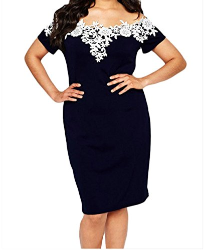 FQHOME Womens Lace Crochet Off Shoulder Plus Size Pencil Dress – 3X, Blue