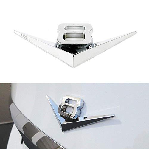 iJDMTOY (1) Vintage Style 3D Chrome Alloy Metal V8 Emblem For Grille Hood Trunk Fender Side Door, etc