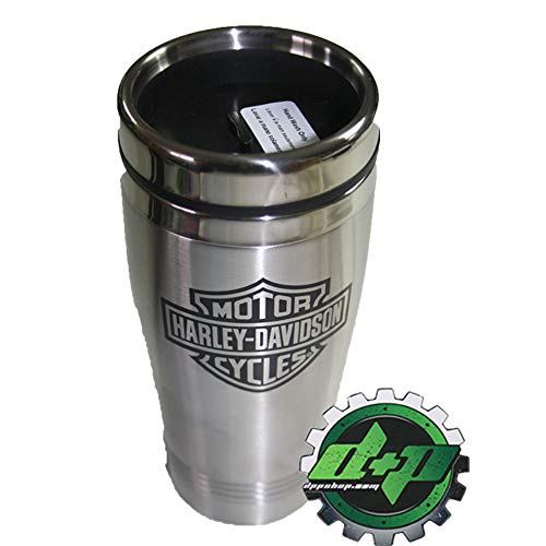 Diesel Power Plus Harley Davidson Insulated Travel Cup Coffee Drink Stainless Mug HD bar Shield ()