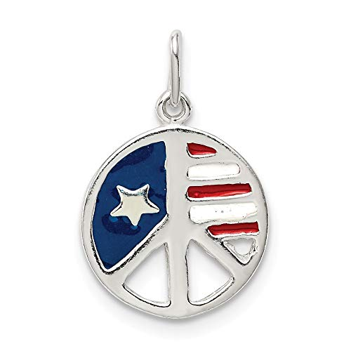 Jewelry Pendants & Charms Themed Charms Sterling Silver Polished Enamel American Flag Peace Sign Pendant ()