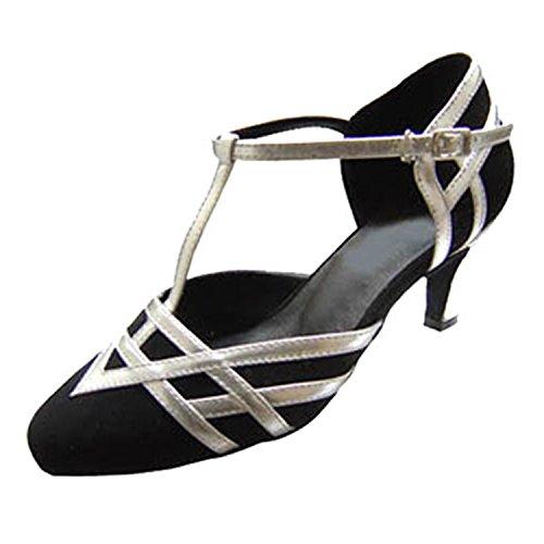 Femmes Latine Dance Dance 6CM 40 YFF Danse Tango Black White Chaussures Danse LEIT Cadeaux Exa10Ywwq