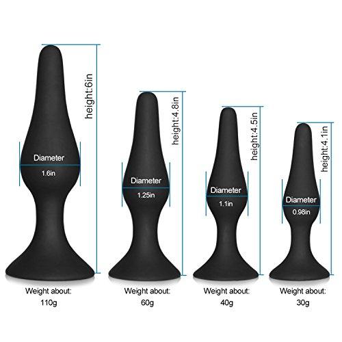 Anals Plug - Saiksi 4 Pcs Naughty Butt Plug Kit - 100% Medical Grade Silicone (Black)