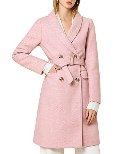 Allegra K Women's Double Breasted Chevron Belted Shawl Collar Lapel Coat XS Pink