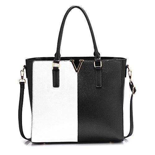 Large Shoulder Bag For Women Designer Style Handbag Ladies Faux Leather New Look Tote Fashion Female Bag Design 1 - Black / White