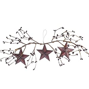 Factory Direct Craft Pair of Decorative Burgundy Pip Berry Swags with Three Hanging Burgundy Barn Stars 33