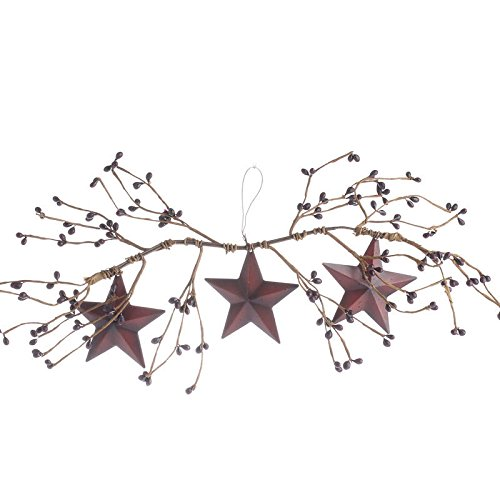 Factory Direct Craft Pair of Decorative Burgundy Pip Berry Swags with Three Hanging Burgundy Barn Stars ()