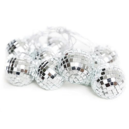 (Surething 9.8ft 20LED Disco Ball String Lights for Indoor/Outdoor Halloween Christmas Thanksgiving Home Party Children Bedroom Window Tree Decoration-Warm)